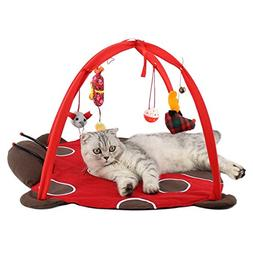 Patgoal Cat Mobile Activity Play Mat Pet Padded Bed with Han