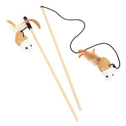 Luck Dawn Cat Mouse Toy Natural Wand Teasers Interactive Cat