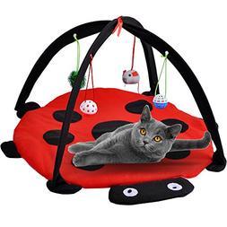 MyfatBOSS Cat Play Mat, Cat Tent Activity Center with Hang C