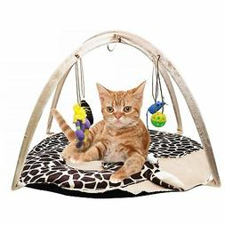 B Bascolor Cat Play Mat Bed with 4 Hanging Toys Bell Balls C