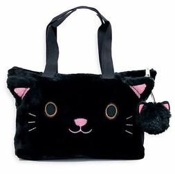 Cat Purse for Girls - Black, with Detachable pom.