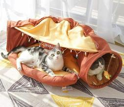 Cat Rabbits Pet Toys Collapsible Tunnel Channel Bed Cozy Cav
