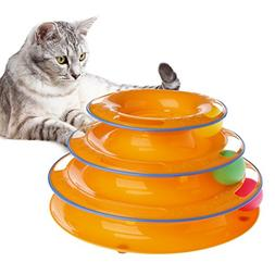 Qupida Cat Roller Interactive Toys Tower 3-Level Round Tower
