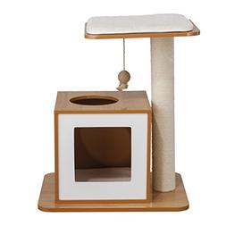 Elegant Home Fashions Cat Scratch Post House in White and Na
