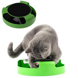 Qupida Cat Scratch Turntable Toy Catch The Moving Mouse Pad