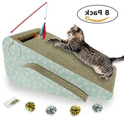 Cat Scratcher with Ball&Feather Wand Cat Toy, Corrugated Car