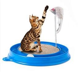 Petony Cat Scratcher Toy, Round Turbo Scratcher with a Ball