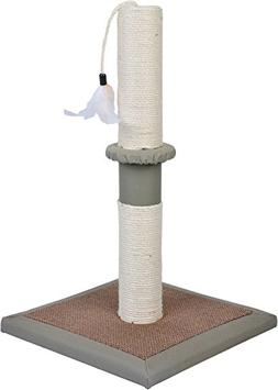 "Dimaka Cat Scratching Post, 20"" Tall, White Natural Sisal an"