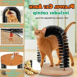Cat Self Groomer Arch Pet Round Fleece Base Toy Brush Toys S