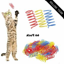 cat spring toys plastic colorful coil spiral
