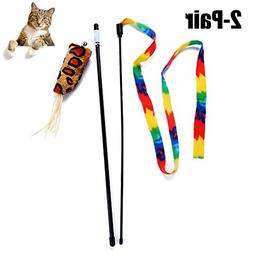Legendog Cat Stick Toy, 2 Pairs Cat Teaser Interactive Train