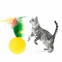 Cat Teaser Golf Ball Feather Toys Squeaky Chew Play Intellig