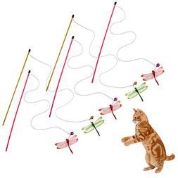 Domybest 5Pcs Cat Teaser Toy, Interactive Kitten Cat Teaser