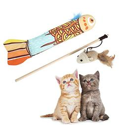 Nasus Cat Teaser Wand and Catnip Pillow Toy, Nontoxic Wooden