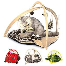 Cat Tent with Hanging Toys - Balls Mice & More Helps Cats Ge