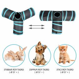 Cat Toy Creaker 3 Way Collapsible Pet Tunnel with ball for K