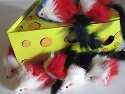 Cat Toy 50  Real Long Fur Colorful Mice Catnip BN+++6 Animal
