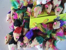 Cat toy 50 Real Short Colorful Fur Mice/catnip +++6 Animal C