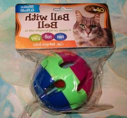 "Cat Toy Ball w Bell HUGE Giant XL SIZE 3"" Multi-color Blue R"