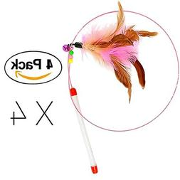Cat Toy Feather Wand, FANCER Bundle of 4 Pack Interactive Pe