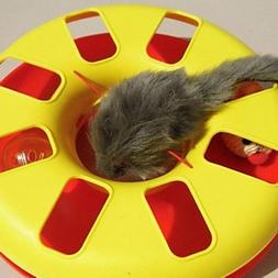 QINF Cat Toy Mouse Attached Turntable Ring Ball for Cats