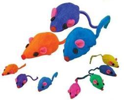 Zanies 20 x Cat Toy Rainbow Fur Mice That Rattle by