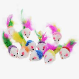 Cat Toy - Rattling Fuzzy Mice w Feather Tail - 5,10,15,20, 2