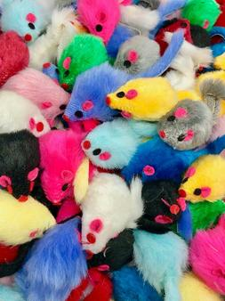 Cat Toy - Rattling Fuzzy Mice w Tail - 5,10,15, 20, 25, 30,