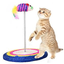 QBLEEV Cat Toy Scratch Board Feathers Spring Mouse Colored F