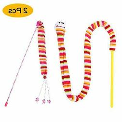 lesotc Cat Toys, 2PCS Cat Toys Wand, Kitten Toys, Cat Toy Ri