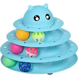 Cat Toys 3 Level Towers Tracks Roller with Three Colorful Ba