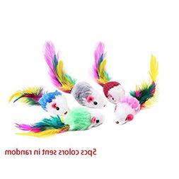 Cat Toys - 5pcs Colorful Feather Plush Mini Mouse Kitten Toy
