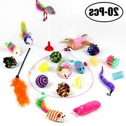 Legendog Cat Toys, 20Pcs Cat Crinkle Interactive Feather Toy