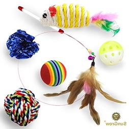 SunGrow 6 Pack Cat Toys - Increases Stimulation - Keeps pet