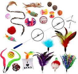 EcoCity Cat Toys - Cat Feather Toys - 24 pieces, Retractable