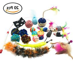 Cat Toys Assorted Pack 20 Pieces Contains Interactive Wand T