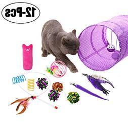 Cat Toys, Legendog 12Pcs Cat Kitten Interactive Feather Toy