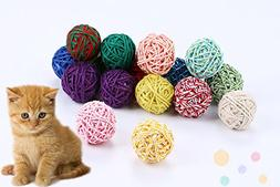 "PET SHOW Cat Toys Ball Interactive Squeaky 1.8""- 2"" Wool Bal"