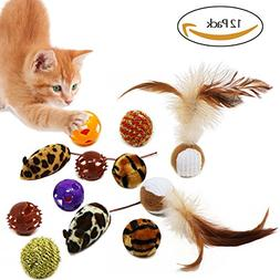 Bascolor Cat Toys Balls Interactive 12 Pack Feather Squeaky