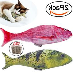 2 Pack Cat Toys Catnip Fish for Pets Cats Interactive Large