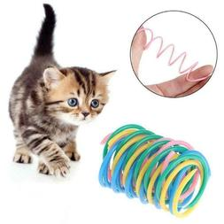 cat toys colorful spring bounce plastic pet