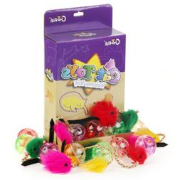"""Chiwava 24PCS 9.8"""" New Cat Toys Furry Mice with Rattle Plast"""