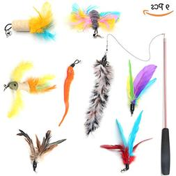 BoToKiNo Cat Feather Toys Interactive 9 Packs Retractable Ca