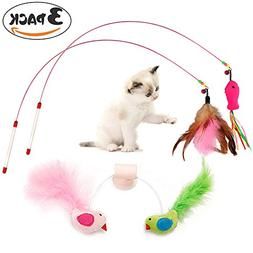 PetsParty 3 PCs Cat Toys Interactive Birds Suction Cup Toy F