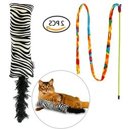 Bascolor Cat Toys Interactive Catnip Kicker Stick Toy Zebra