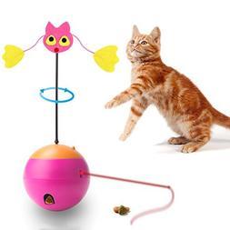 Agoigo Cat Toys Interactive Feather Spinning Teaser Zany Tum