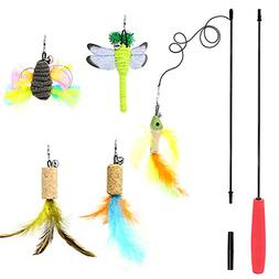 B Bascolor Cat Toys Interactive Feather Teaser Wand Toy Set