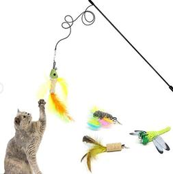 ZERVIOE Cat Toys Interactive Feather Teaser Wand Toy Set wit