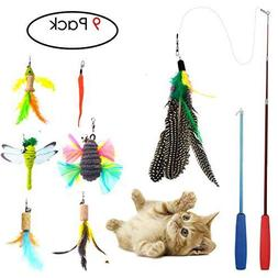 Cat Toys Interactive,9 Packs Retractable Cat Toy Wand, Cat F