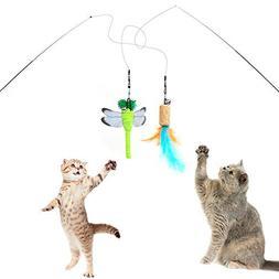 SunnySunnie Cat Toys Interactive, Feather, Teaser Wand Set,B